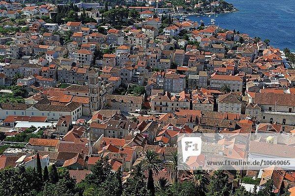 Großstadt Festung Draufsicht Kroatien Hvar