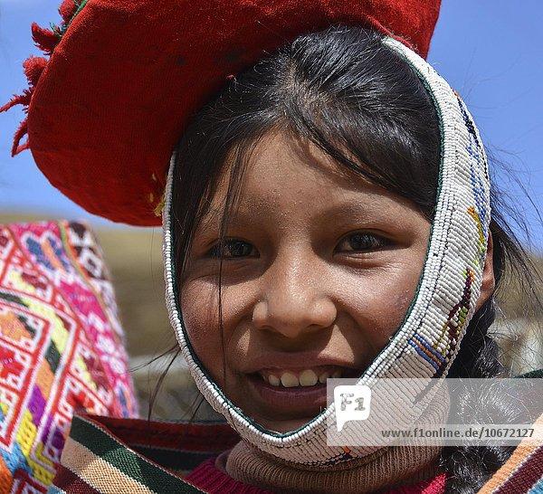 Indigenous girl in traditional costume  portrait  Cusco  Peru  South America
