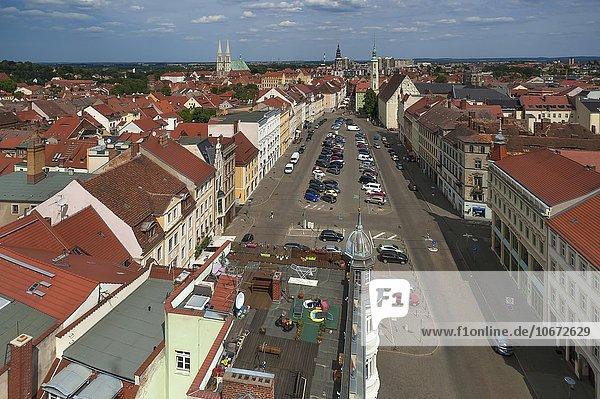 View from Reichenbacher Tower  Upper Market  Görlitz  Oberlausitz  Saxony  Germany  Europe