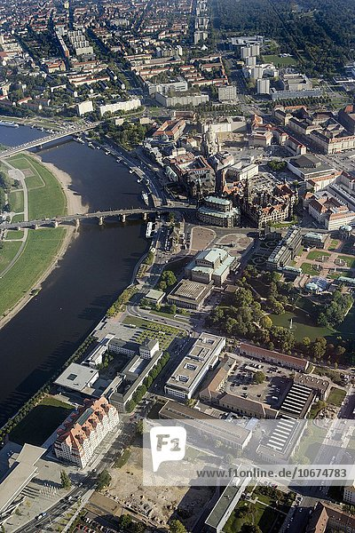 Aerial view  old town  Elbe  Church of Our Lady  Dresden Castle  Zwinger  Semper Opera House  Dresden Cathedral  Dresden  Saxony  Germany  Europe