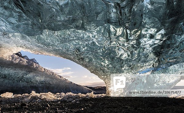 Nationalpark Europa Eingang Eis Höhle Februar Island Nordeuropa