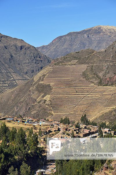 Inka-Terrassen  Heiliges Tal  Valle Sagrado  Pisac  Provinz Cusco  Peru  Südamerika