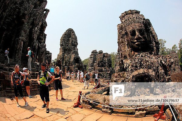 Tourist at Bayon temple  Angkor thom  UNESCO World Heritage Site  Siem Reap