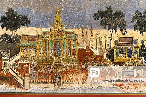 Wandgemälde aus dem Ramayana Epos  Silberpagode  Königspalast  Phnom Penh  Kambodscha  Asien