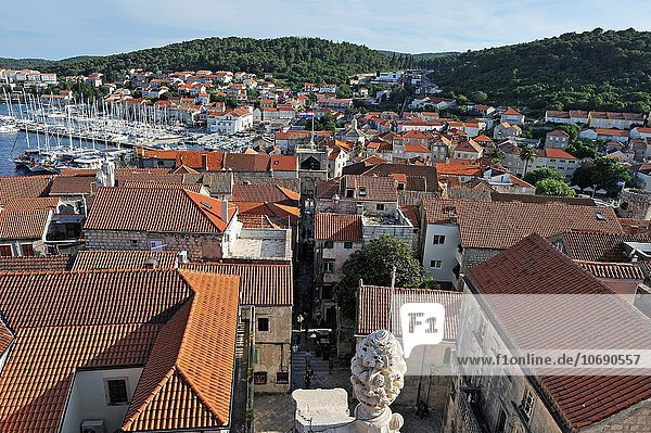 Korcula old town seen from the bell tower of the St. Mark´s Cathedral  Korcula island  Croatia  Southeast Europe.