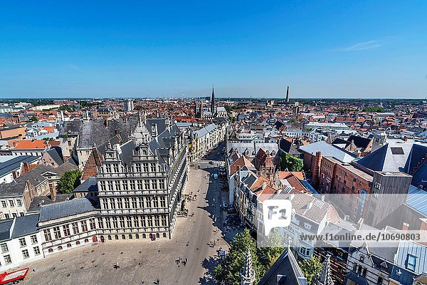 Elevated view over the centre of Ghent  Brussels  Europe