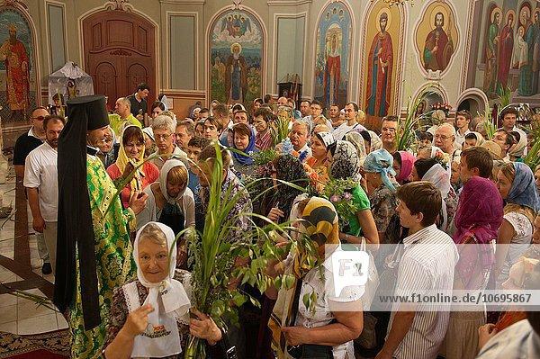 Kiew Hauptstadt Europa Fest festlich Christentum russisch orthodox russisch-orthodox russisch Sonntag Ukraine Vydubychi Kloster