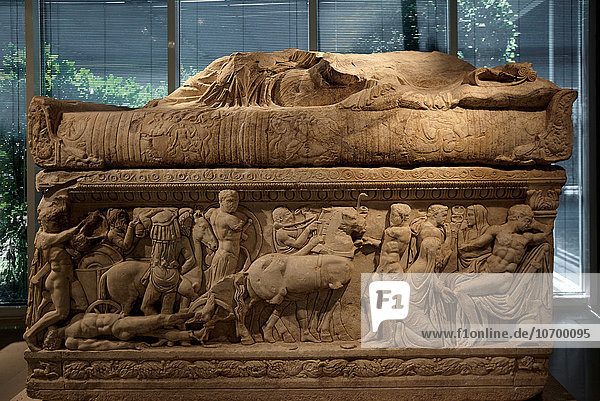 Marble sarcophagus 2nd century AC in the archaeological museum in Ioannina in Epirus province  in Greece