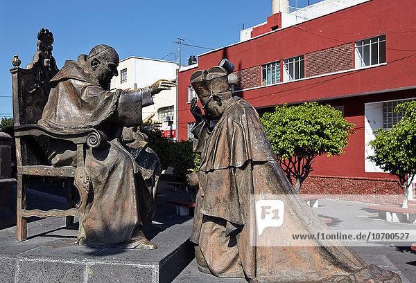 'America; Mexico; Jalisco state; Guadalajara city; Statue of John Paul II Pope; in front of the Expiatorio Church'