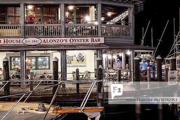 Hafen Wohnhaus Nacht Boot Restaurant Yacht Nachtleben Schlüssel Hummer Altstadt Key West Florida Auster