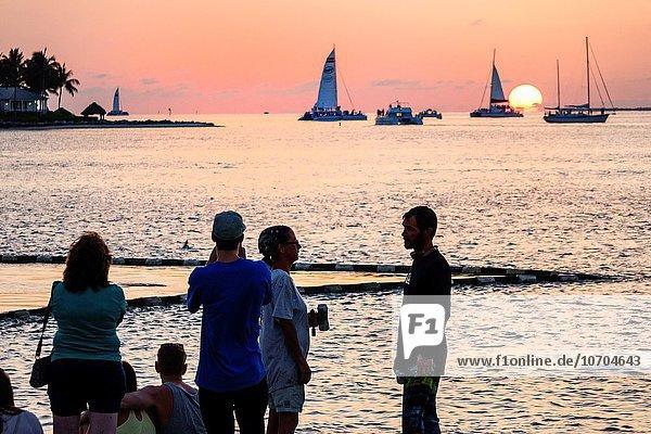 sehen Sonnenuntergang Boot Kai Schlüssel Segelboot Key West Golf von Mexiko Florida
