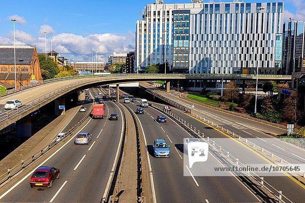 Charing Cross interchange with the M8 motorway  Glasgow city centre  Scotland  UK.