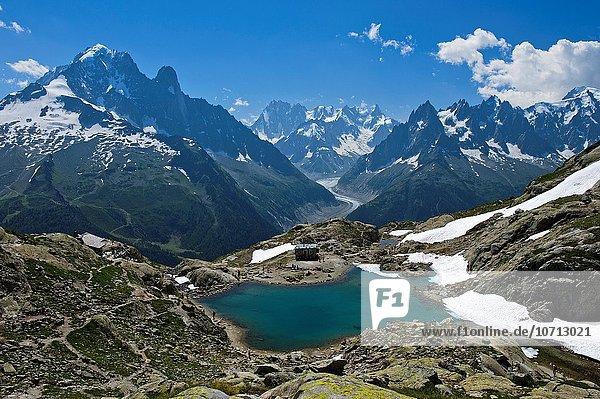 Naturschutzgebiet Frankreich Berg französisch See Alpen Ansicht Haute-Savoie Aiguille Verte Chamonix