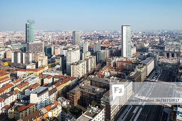 Italy  Milan  city scape from the Grattacielo of Della Repubblica square