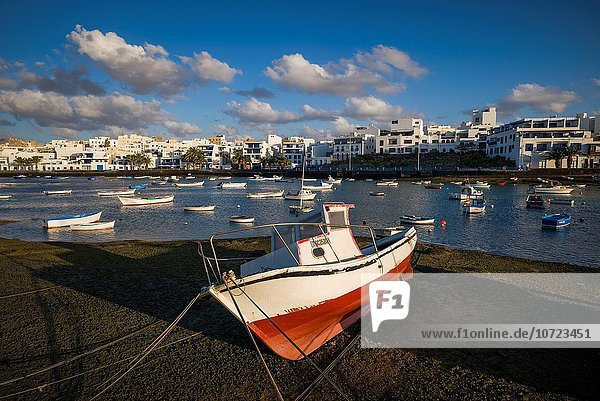 Spain  Canary Islands  Lanzarote  Arecife  Charco de San Gines  fishing boats  dawn.