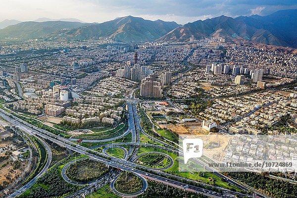 Iran . Teheran City  Teheran city from Milad Tower.   Modarres expresway.
