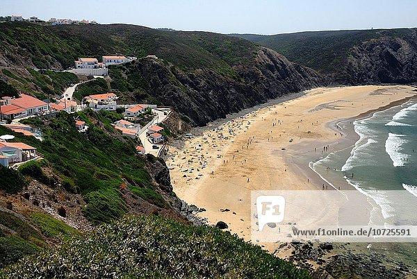 Europa Landschaft Strand Küste Erhöhte Ansicht Aufsicht Algarve Portugal