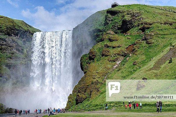 Tag Spritzer Produktion heraustropfen tropfen undicht Wasserfall Sonnenlicht 1 Messgerät Ergebnis 200 60 Island Regenbogen