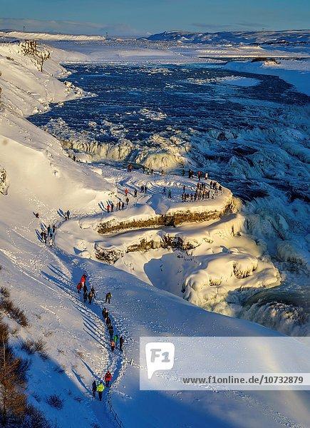 Winter Wasserfall Gullfoss Island