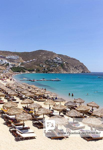 Greece  Cyclades Islands  Mykonos Island  Elia beach