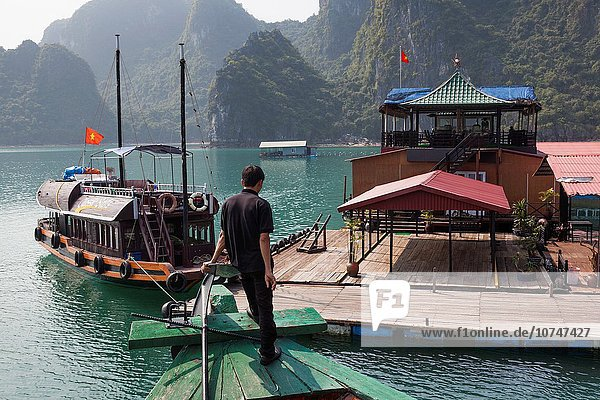 Vietnam  Halong Bay  floating cultured pearl farm.