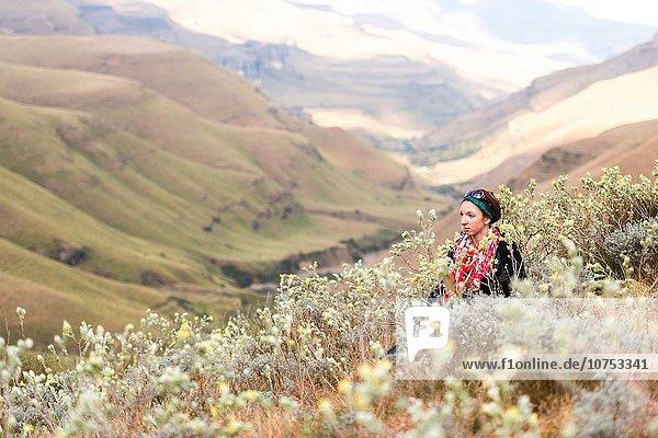 Südliches Afrika Südafrika zwischen inmitten mitten sitzend junge Frau junge Frauen rollen Hügel Hintergrund Wildblume