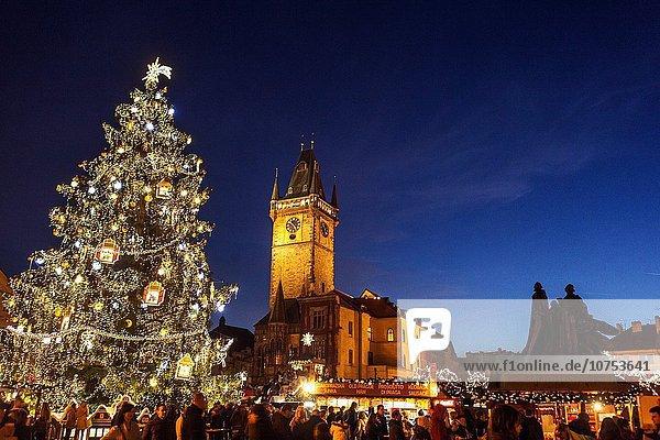 Prag Hauptstadt Weihnachten Tschechische Republik Tschechien Markt