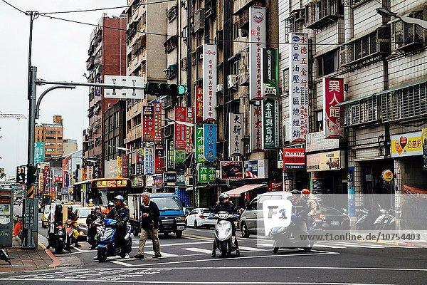 Taipeh Hauptstadt Bodenhöhe Tradition Gebäude Straße hängen Vielfalt Ansicht Fahrrad Rad Schild - Symbol Größe Taiwan