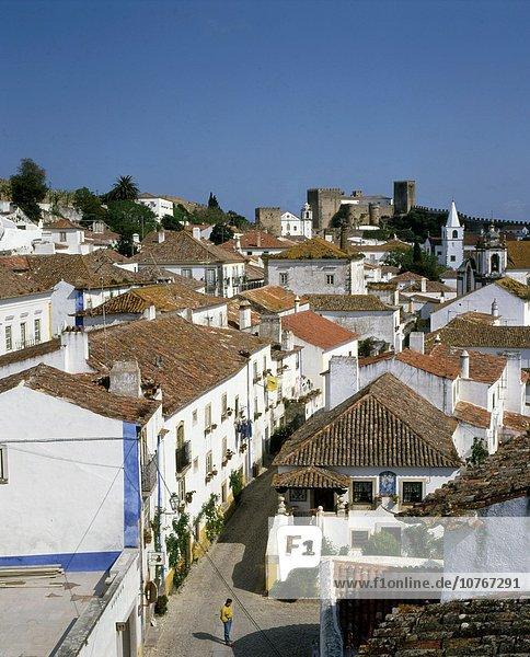 Portugal  Obidos  skyline  general view .