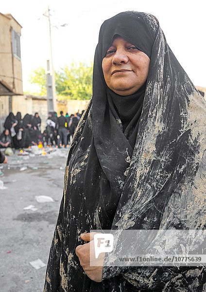 An Elderly Iranian Shiite Woman Covered With Mud During The Chehel Manbar Ceremony One Day Before Ashura  Lorestan Province  Khorramabad  Iran.