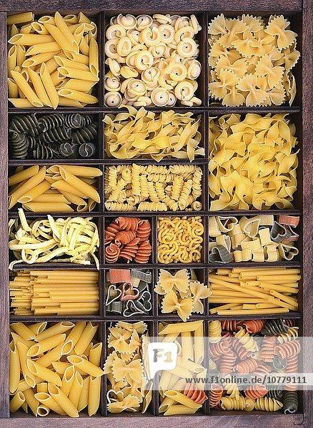 Pasta  verschiedene Nudelsorten in einem Setzkasten
