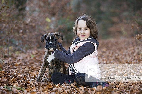 Boxer Welpe sitzt mit kleinem Mädchen im Herbstlaub