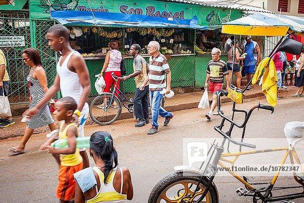 Street scene  in Calle San Rafael  Centro Habana district  La Habana  Cuba.