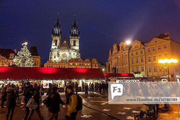Prag Hauptstadt Baum Weihnachten Tschechische Republik Tschechien Markt