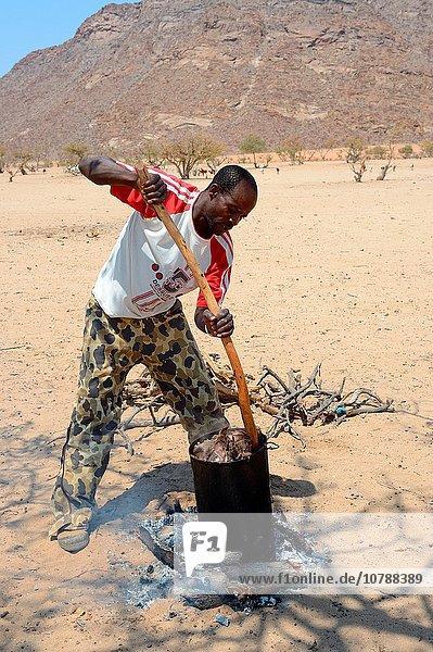 Ziege Capra aegagrus hircus kochen Mann Frische Kleidung Namibia Fleisch modern