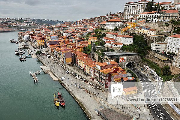 Aerial View of Pier and Rabelos Boats  Oporto  Portugal  Europe.