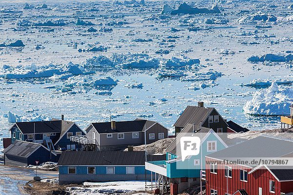 fließen Stadt Eis Ansicht Erhöhte Ansicht Aufsicht heben Diskobucht Disko-Bucht Grönland Ilulissat