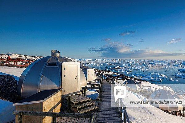 Greenland  Disko Bay  Ilulissat  waterfront igloo houses.