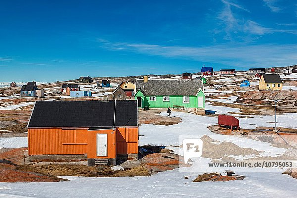 Greenland  Disko Bay  Oqaatsut  village buildings.