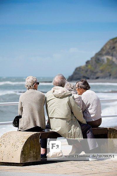 Farbaufnahme Farbe sitzend Senior Senioren Zusammenhalt Frau 4 Kleidung Freundschaft grau Sommer Küste Sitzbank Bank Wiederholung Nachmittag Sturm grauhaarig