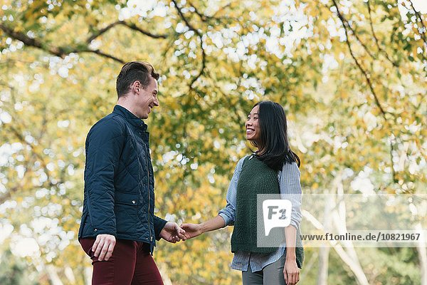 Mid adult couple holding hands in park