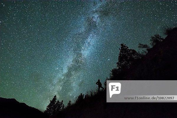 Silhouette des Menschen vor dem Nachthimmel und der Milchstraße im Bergwald  Penticton  British Columbia  Kanada Silhouette des Menschen vor dem Nachthimmel und der Milchstraße im Bergwald, Penticton, British Columbia, Kanada