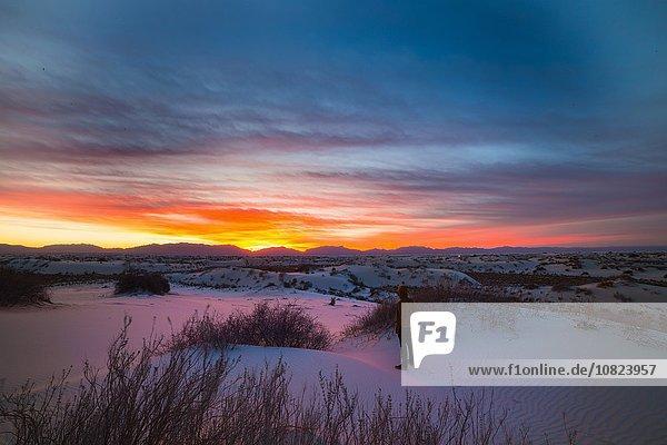Junger Mann stehend  Sonnenuntergang beobachtend  White Sands New Mexico