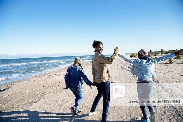 Drei Freunde  die am Strand spazieren gehen  Händchen haltend  Rückansicht
