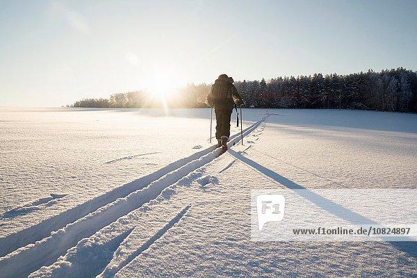 Rückansicht des Menschen auf Schneeschuhen  Ural  Russland