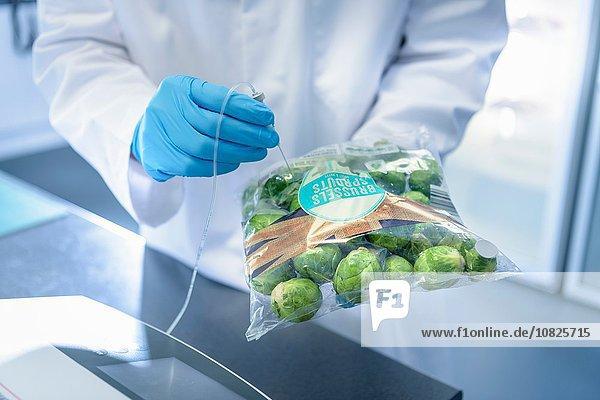 Nahaufnahme eines Wissenschaftlers bei der Untersuchung von Lebensmitteln auf Frische im Labor in der Lebensmittelverpackungsdruckerei