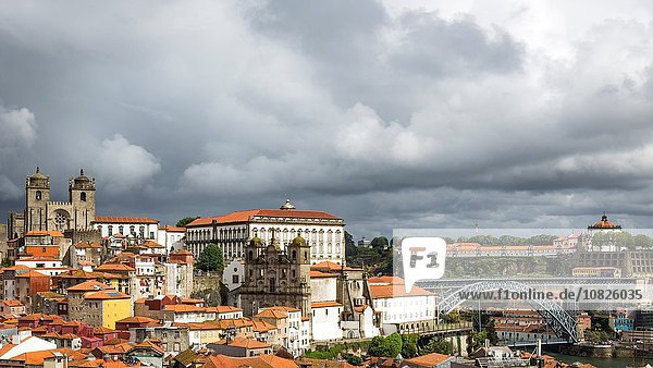 Cityscape  including Dom Luis I Bridge  Porto Cathedral and Igreja dos Grilos  Porto  Portugal