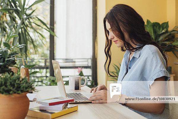 benutzen Europäer Frau Schreibtisch Notebook