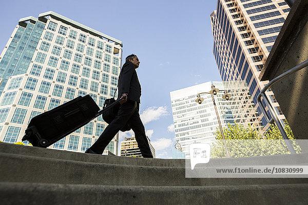 Außenaufnahme rollen Geschäftsmann Gepäck mischen Mixed freie Natur