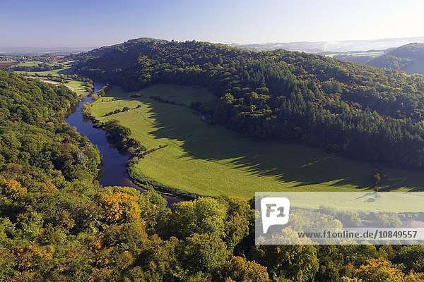 Autumn view north over Wye Valley from Symonds Yat Rock  Forest of Dean  Herefordshire  England  United Kingdom  Europe